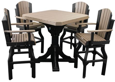 adirondack high top table bar table set w swivel chairs polywood haus
