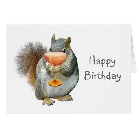 Printable Birthday Cards With Squirrels | squirrel with drink birthday card zazzle
