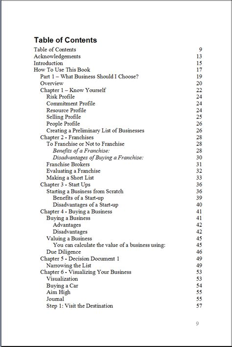 business plan table of contents table of contents killer business plan