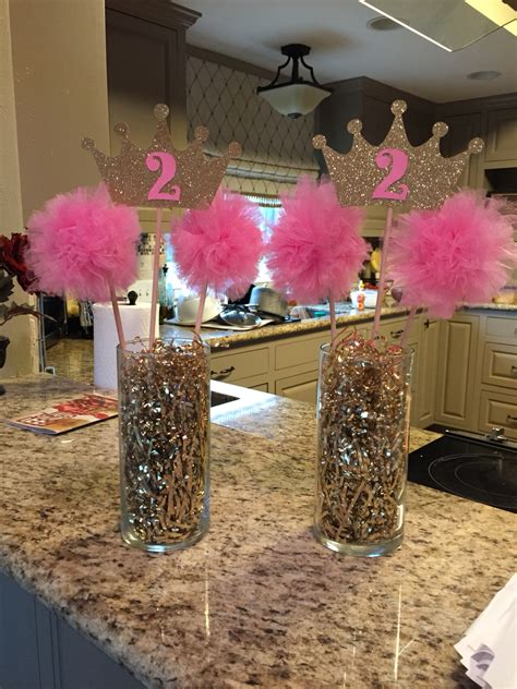 gold table centerpieces pink gold princess birthday centerpiece