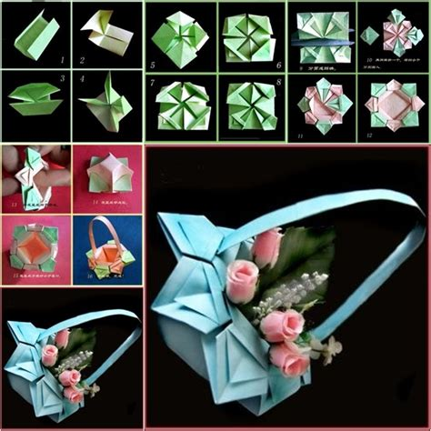 How To Make Origami Flower Basket - diy origami paper basket