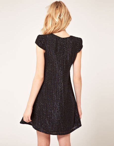 black sequin swing dress french connection sequin swing dress in black lyst