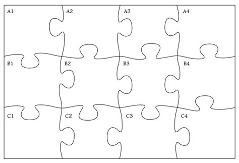 printable jigsaw puzzle template 6 best images of printable blank jigsaw puzzle pieces