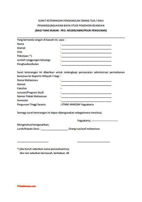contoh surat resmi contoh surat keterangan penghasilan orang tua lengkap