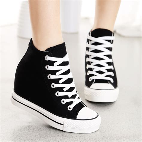 8cm high heels shoes casual canvas shoes