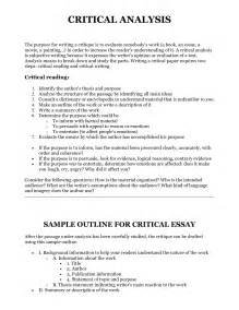Exle Of Critical Analysis Essay by Thesis Statement For Critical Analysis Paper