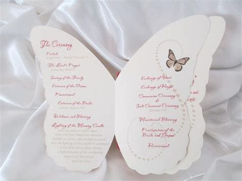 butterfly shaped wedding programs designs by ginny