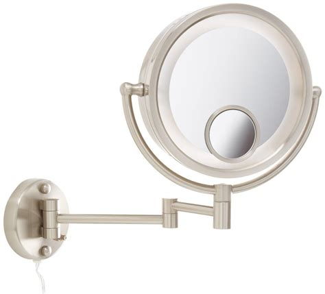 7x magnification led lighted wall mount makeup mirror led jerdon hl8515n 8 5 inch lighted wall mount makeup mirror