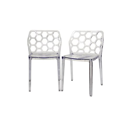 Acrylic Dining Chairs Honeycomb Clear Acrylic Modern Dining Chair See White