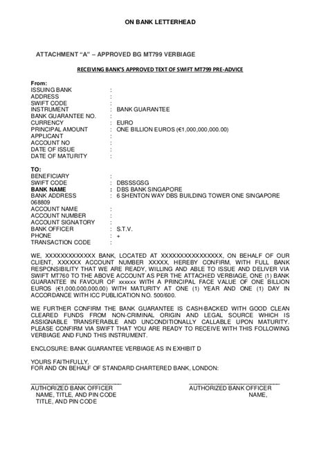 Deutsche Bank Letter Of Guarantee sle bank letter mt799 760