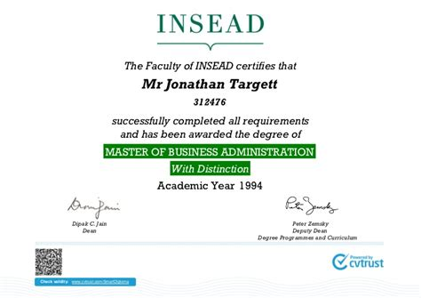 Mba Insead by Jonathan Targett Mba Diploma