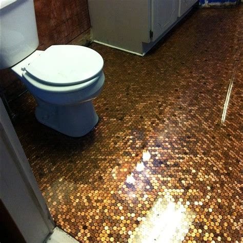 bathroom floor pennies diy penny floor complete house remodel pinterest