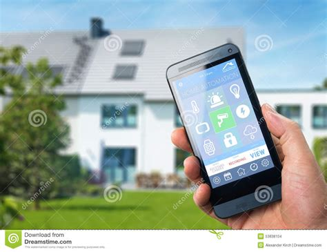 smartphone home automation smart home device home control stock illustration image 53838104