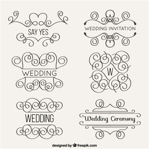 Wedding Box Ornaments by Lineal Wedding Ornaments Set Vector Free