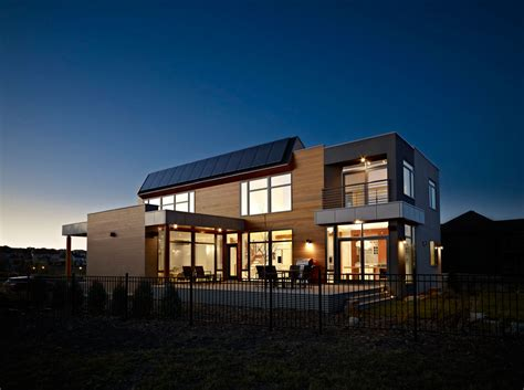 dusk lighting contemporary home in edmonton canada