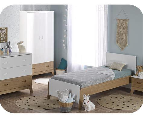 chambre enfant bois chambre enfant aloa blanche et bois set de 4 meubles