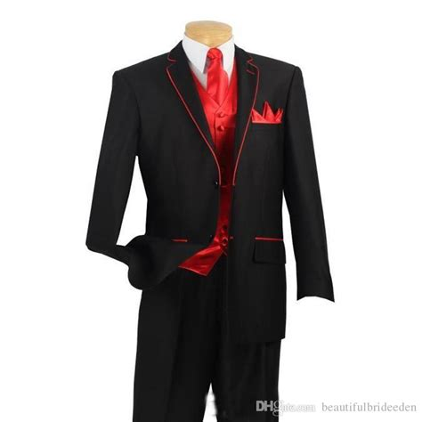 black suit red shirt with vest 2017 custom made black suits with red edge for collar and