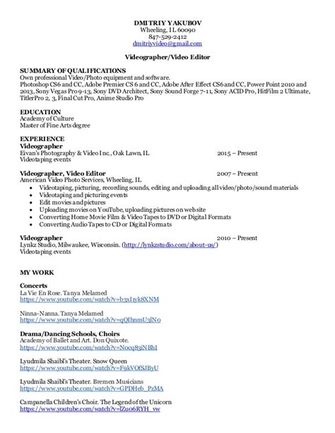 Videographer Resume by Resume For Videographer Resume Ideas