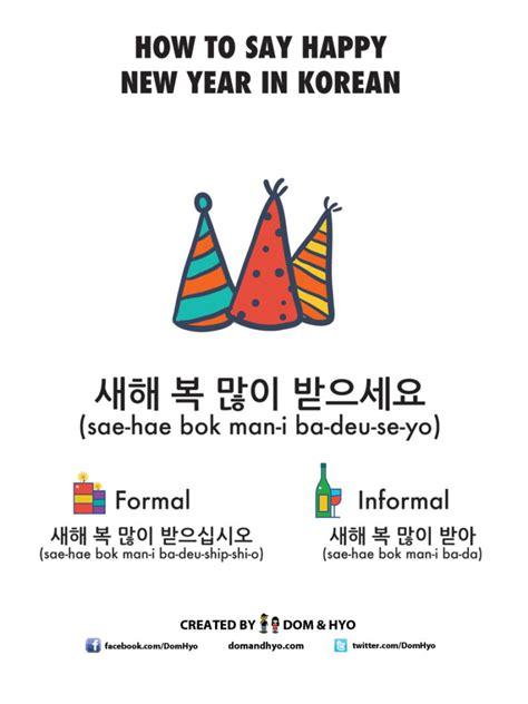 happy  year  korean learn basic korean vocabulary phrases  dom hyo