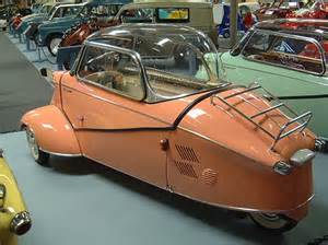 This is a three wheeled german car and it was made by an aircraft