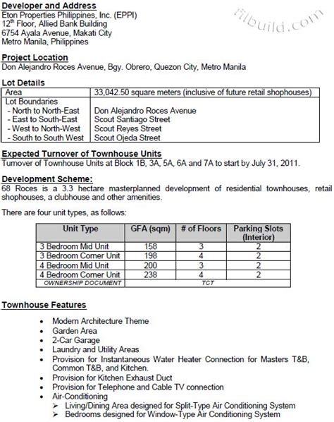 New Homes Floor Plans real estate home lot sale at project information sheet