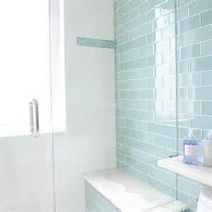 glass subway tile bathroom ideas blue cottage bathroom with blue subway shower tiles
