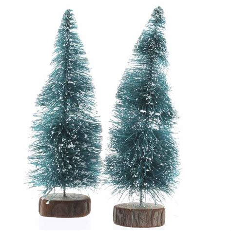 frosted green bottle brush trees christmas miniatures