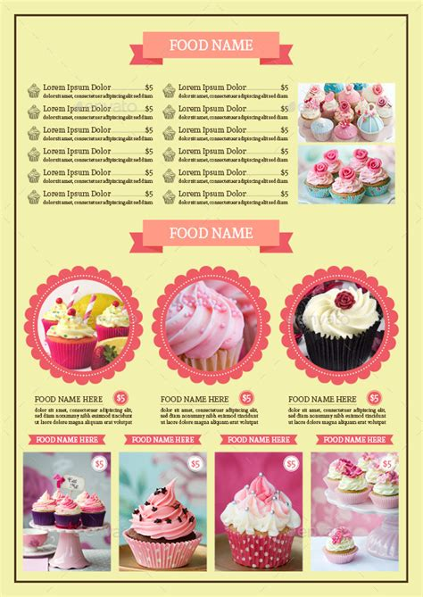 bifold cupcake menu template vol 2 by avindaputri