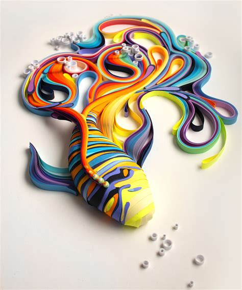 Paper Artists - vibrant quilled paper illustrations and sculptures by