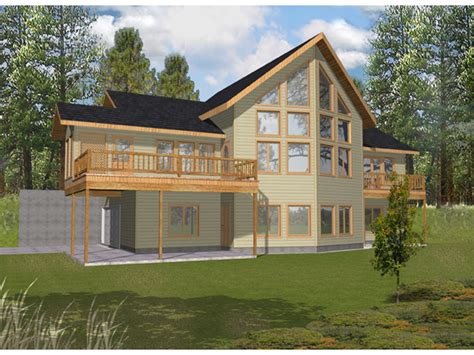 Hillside House Plans With Garage Underneath Covered Porch Design View Plans Lake House Lake House