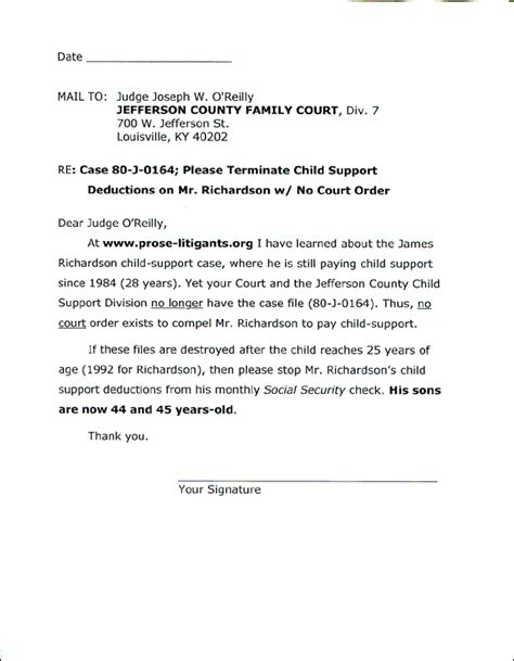 Child Support Letter To Judge System Of Contracts Threatened Letter To Obama Form Letter To Judge O Rielly
