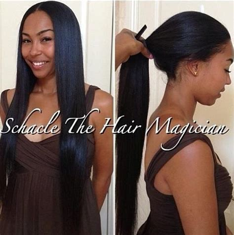 The Middle Part With Weave In A Ponytail | versatile sew in part in the middle middle part