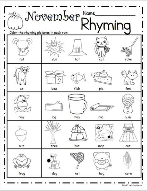 printable preschool rhyming worksheets free november rhyming worksheets madebyteachers