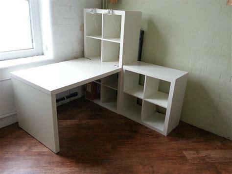 ikea kallax desk  shelving units including work lights