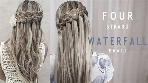 four 4 strand waterfall braid prom and wedding hairstyle diy tutorial