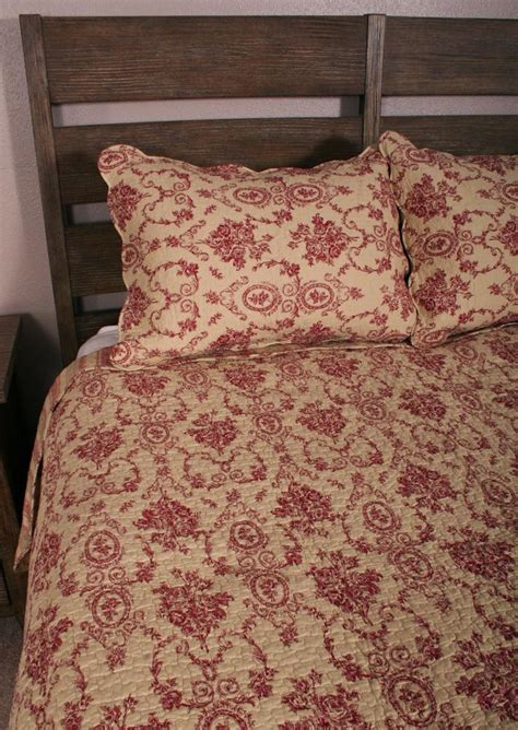 toile quilts and comforters queen quilt set french country floral urn toile burgundy