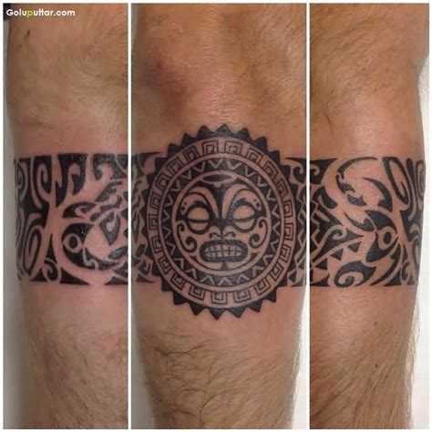 cool tribal maori armband tattoo on lower arm photos and