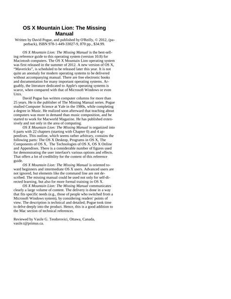 (PDF) OS X mountain lion: the missing manual by David Pogue