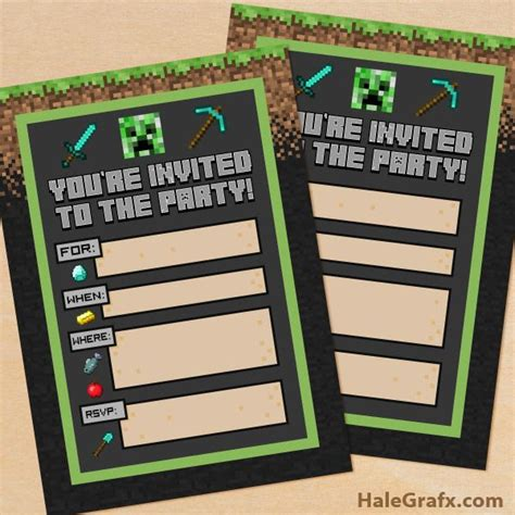 Free Printable Minecraft Birthday Party Invitation Kids Parties Shared Board Pinterest Free Printable Minecraft Birthday Invitations Templates