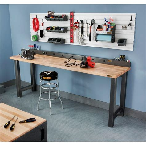 outlet bench 6 ft 9 outlet workbench power strip with tool caddy