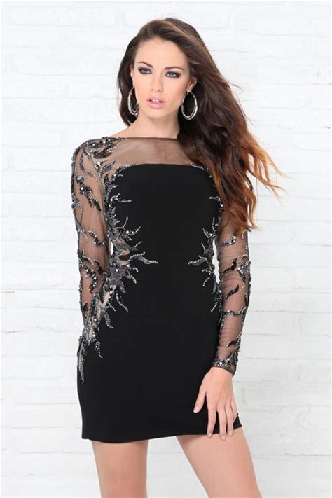 Dress Jersey Grade A Pecah 6 tight illusion neckline black jersey tulle beaded sequin