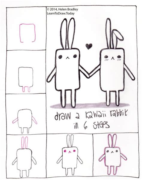 learn how to make doodle learn to draw a kawaii bunny in 6 steps drawing step by