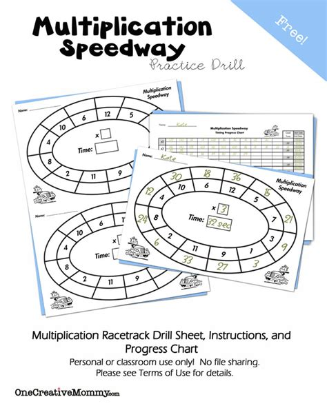 multiplication speedway math drill onecreativemommy
