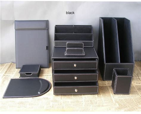 leather desk organizers leather desk organizer set d1006 black leather 2 desktop