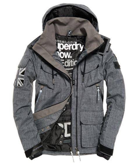 Superdry Black Leather List Grey mens ultimate snow service ski jacket in grey marl