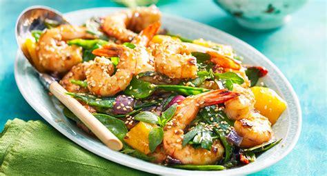 honey sesame prawn stir fry recipe  homes  gardens