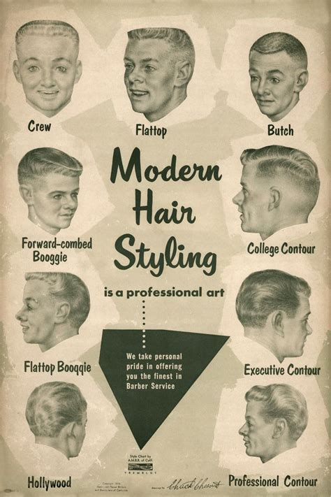 barber hairstyles and names 1957 barbershop modern 9 haircut photo chart sign ads