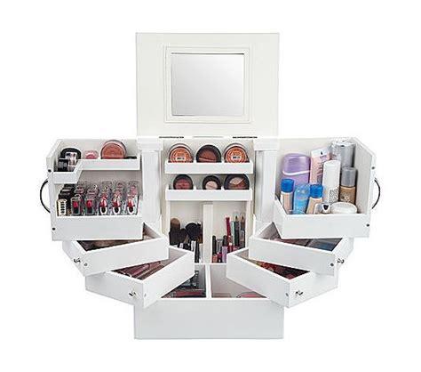 Box Organizer Make Up luxury deluxe wood cosmetic box w mirror by lori greiner