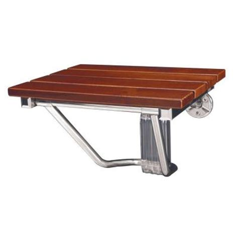 wall mounted sit up bench dreamline 15 in w x 12 in d natural teak wood folding