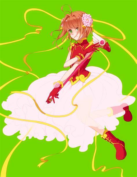 Flower Dress 12755 1girl aji nashi dress boots brown hair cardcaptor